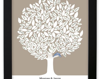 Leaf Tree Guest Book with birds - Winter Tree, Signature Mat Framed, Wedding Tree Guest Book, Wedding Guest Book Alternative