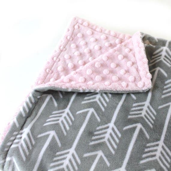 Personalized Baby Blanket Mini Baby Blanket Girl - Baby Lovey Gray Arrow Minky Baby Blanket  Arrow Baby Blanket / Minky Burp Cloth Baby Gift