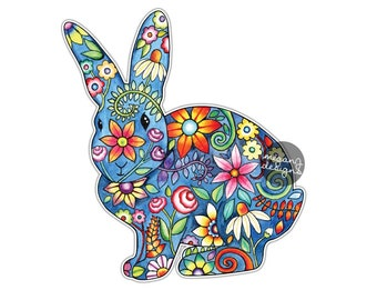 Bunny Rabbit Car Decal Colorful Design Flowers Bumper Sticker Laptop Decal Cute Animal Hippie Boho Spring