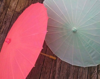 """Mint green or coral silk parasols, hard to find colors, for weddings parties photo props 33"""" fabric parasol, cloth parasol"""