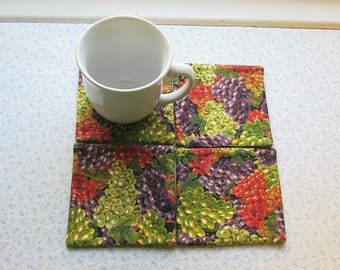 SALE  was 10 NOW 6 wine grapes hand quilted set of mug rugs coasters