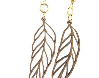 Long leaf motif earrings