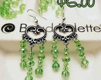 Green Glass Chandelier Earrings