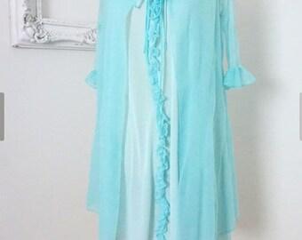 Sheer Turquoise Vintage Nightgown Peignoir Set Women Sz S