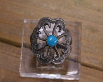 Vintage Sterling Silver Flower Turquoise Ring Size 7.5