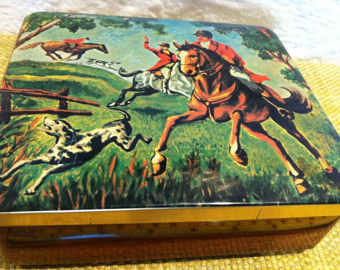 Vintage Tin Box can, accessoires Hunting motive