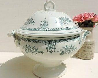 French Ironstone Tureen /French Antique Tureen/Transferware Tureen/Soupiere/French Ironstone /French Transferware/St Amand Tureen