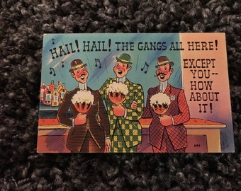Vintage Postcard - The Gangs All Here