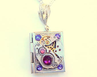 Steampunk  Locket Necklace,Vintage Ruby Jeweled Watch Movement, Purple Swarovski Crystals,Book Locket,Edwardian Fantasy,Gothic Jewellry