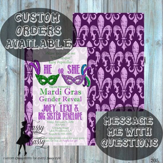 Mardi Gras Gender Reveal Party, Mardi Gras Gender Reveal Invitation, Mardi Gras, Mardi Gras Baby Reveal, King or Queen Gender Reveal 205