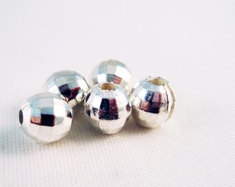 PAC53 - 30 beads Disco Ball silver faceted
