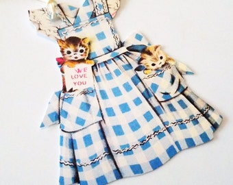 Blue Apron Tags - Set of 3 - Retro Checked Apron - Kittens In Apron - Mid Century Apron - Gift Tags - Vintage Kitchen - Blue Ruffled Apron