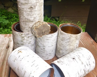 Birch Bark Tin Can Slip Covers