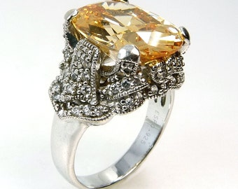 ESPO Sterling 925 Citrine Cocktail Ring Sweetheart Ring Statement Jewelry