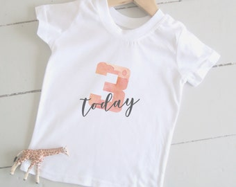 3 Today Kids Tshirt -  Watercolour 3rd Birthday, Girls Birthday T-Shirt, Toddler Birthday Gift, Pink Birthday Outfit, Girls Party Outfit