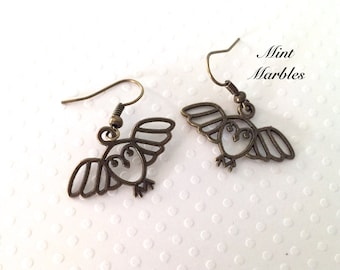 Owl Dangle Earrings. Brass Or Silver. Under 10 Gifts. Dangle Earrings. Bird Jewelry. In Flight. Vintage Style Brass. Cute Animal Jewelry.