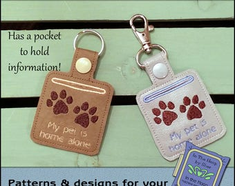ITH Pet Home Alone Paw Print Key Fob - Pet Home Alone Vinyl Key Fob- Keychain with Snap Tab - Machine Embroidery Design