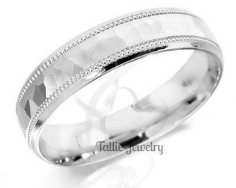 10K White Gold Wedding Rings,Mens Wedding Bands,Womens Wedding Rings,His and Hers Wedding Rings,Matching Wedding Bands
