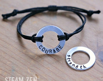 Own Your Positive Word - Personalized Affirmation Bracelet - Hand Stamped Motivation & Encouragement Custom Bracelet