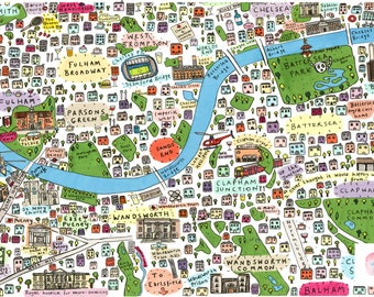 Illustrated map of South West London 2nd edition