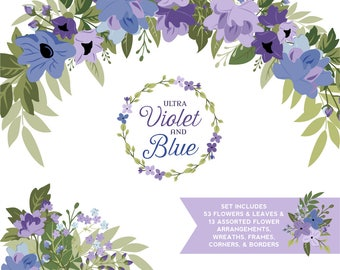 Ultra Violet and Blue Flower and Greenery ClipArt |Purple and Blue Flowers, Leaves and wedding wreaths