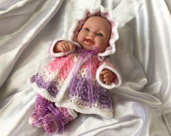 Hand knitted dolls clothes Lace cardigan, bonnet and bootee set