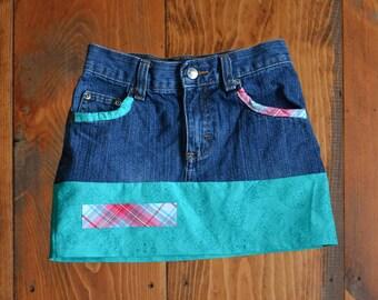 Girls Teal Owl Denim Skirt, Upcycled, Size 5