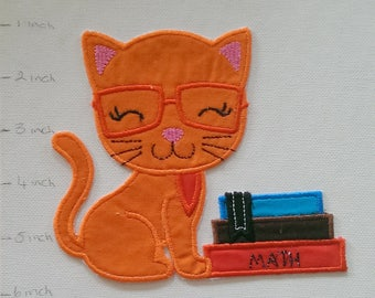Machine Embroidered Iron On Applique Cat with books, Cat studying, Cat School