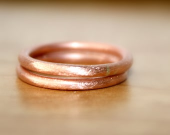 Handmade Pure Copper Rings, Brush Finish Round Copper Rings, Copper Rings, Earthy Copper Rings