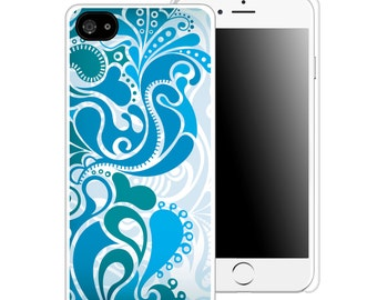 Floral Blue Paisley Printed Cell Phone Case / iphone 5/5s / iphone 6/6s and 6+ / Teen / Tween / Gift Idea