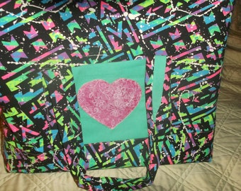 Neon Colored Shopping Bag Tote Handmade Pink Heart