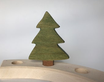 Evergreen Tree Birthday Ring Ornament, Wood Tree, Waldorf Birthday Ring Ornament