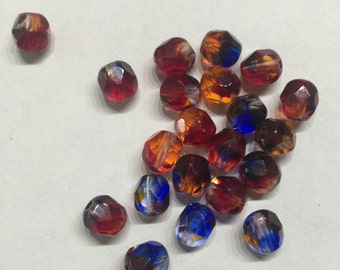 Sale-20 pieces of gradient-glass-cut beads-in red-blue-topaz-6mm-20 pack