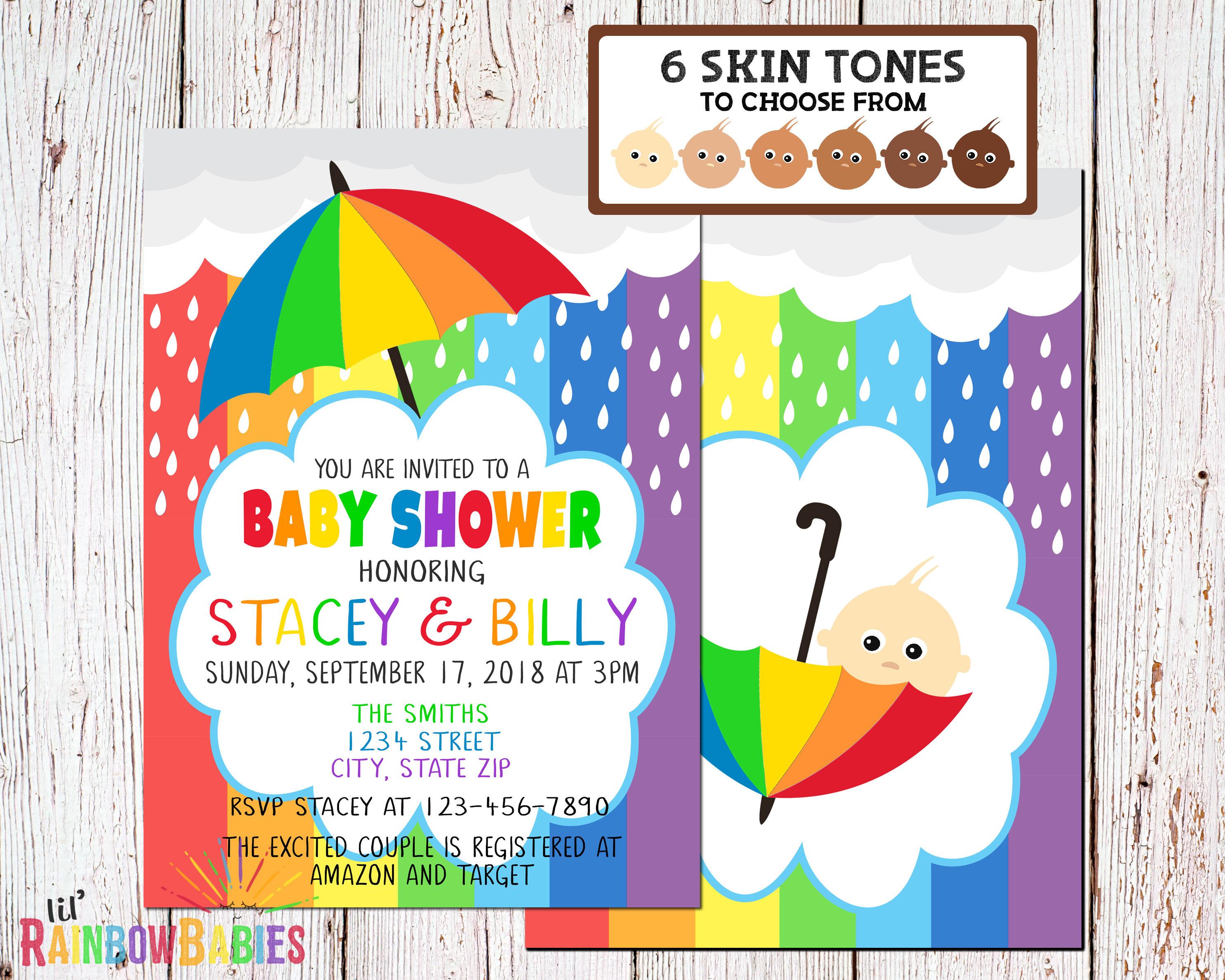 Rainbow Baby Shower Invitations PRINTABLE Baby Shower