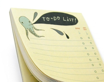 OCTOPUS to do list notepad, boygirlparty, office organization, octopus note pads, squid notepad, to do list note pad, daily to do lists