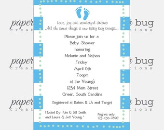 Baby Shower or Announcement, Baby Feet Invite, Boy, Girl, Neutral