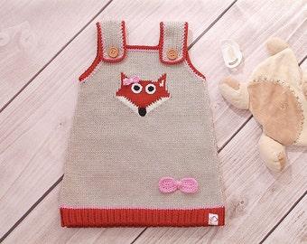 Fox dress, baby knit dress, child
