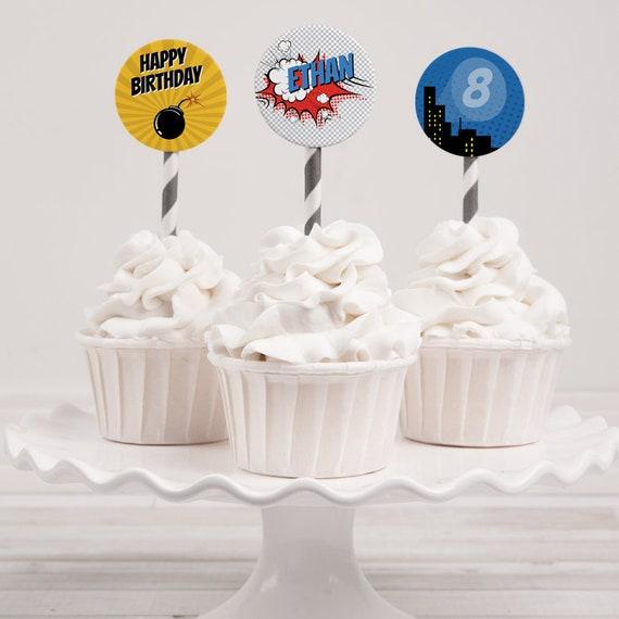 Superhero Cupcake Topper, Superhero Party Circles, editable INSTANT DOWNLOAD printable at home