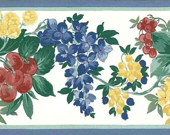 Fruit Floral Vintage Wallpaper Border Blue Yellow Green Red Cherries B1765 15 Feet