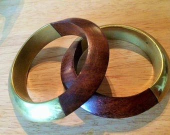 Brass and wood vintage set of 2 bangles