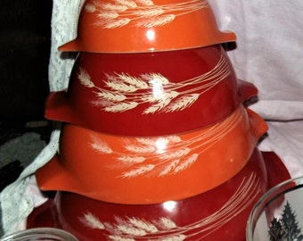 Vintage 1980's Pyrex Set of 4 Cinderella Autumn Harvest Nesting Mixing Bowls Wheat Design, Retro Vintage Pyrex Baking Kitchen