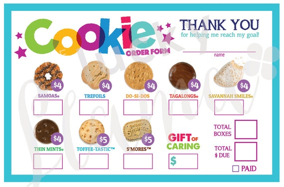 Modest image in girl scout cookie order forms printable