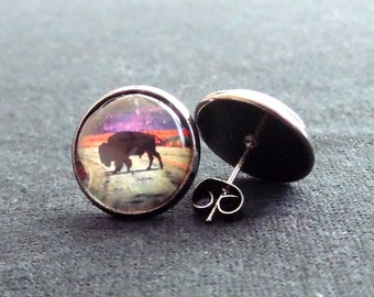 Space Buffalo earrings-Buffalo Earrings-Space Earrings-Abstract Art-Nature Jewelry-Buffalo Jewelry-Boho Earrings-Space Jewelry