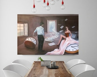 Clock, calendar, original running time, oil painting, fantasy, surrealism, painting, unique characters, colorful, painting, woman, man