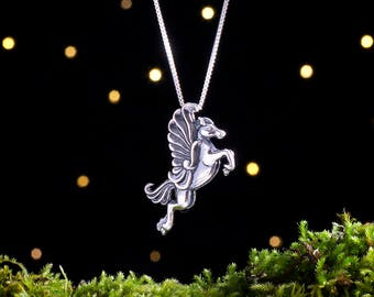 Sterling Silver Pegasus - 3D Double Sided - (Pendant Only, No Chain) [CLEARANCE]