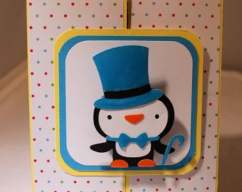 Interactive Penguin Wobbles New Years Layered Card-New Years Card-Penguin Card-Greeting Card-Handmade Card