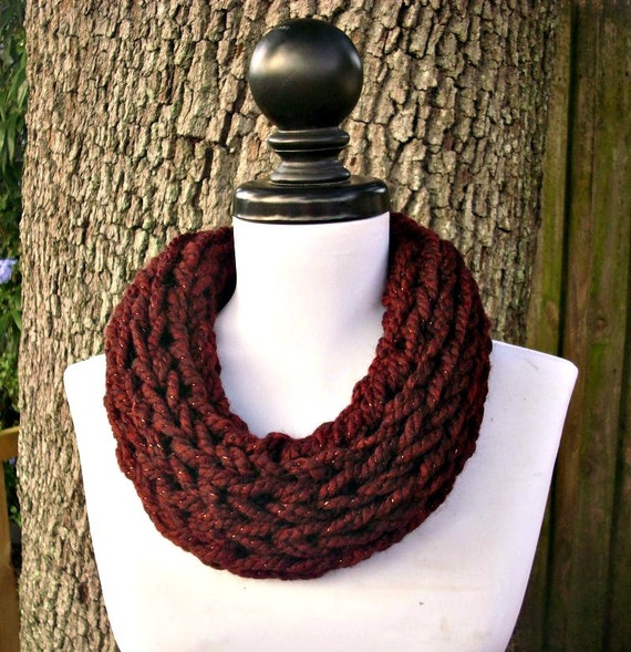 Knit Cowl - Polar Circle Scarf Cowl Cabernet Metallic Wine Oxblood Red - Red Cowl Red Scarf Burgundy Cowl Burgundy Scarf Womens
