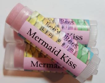 MERMAID KISS Lip Balm - One Tube of Beeswax Lip Salve Chapstick from Lee the Beekeeper