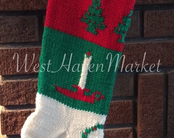 Vintage Personalized Hand Knit Christmas Trees (3) and Candles Stocking 100% PURE WOOL -