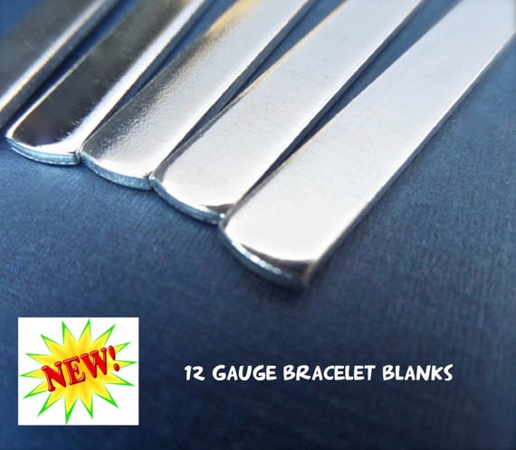 """50 - 12G 1/4"""" x 7"""" Tumbled Polished Cuffs - Very Thick Pure Aluminum Bracelet Blanks - 50 Cuffs  - Flat - Made in USA"""
